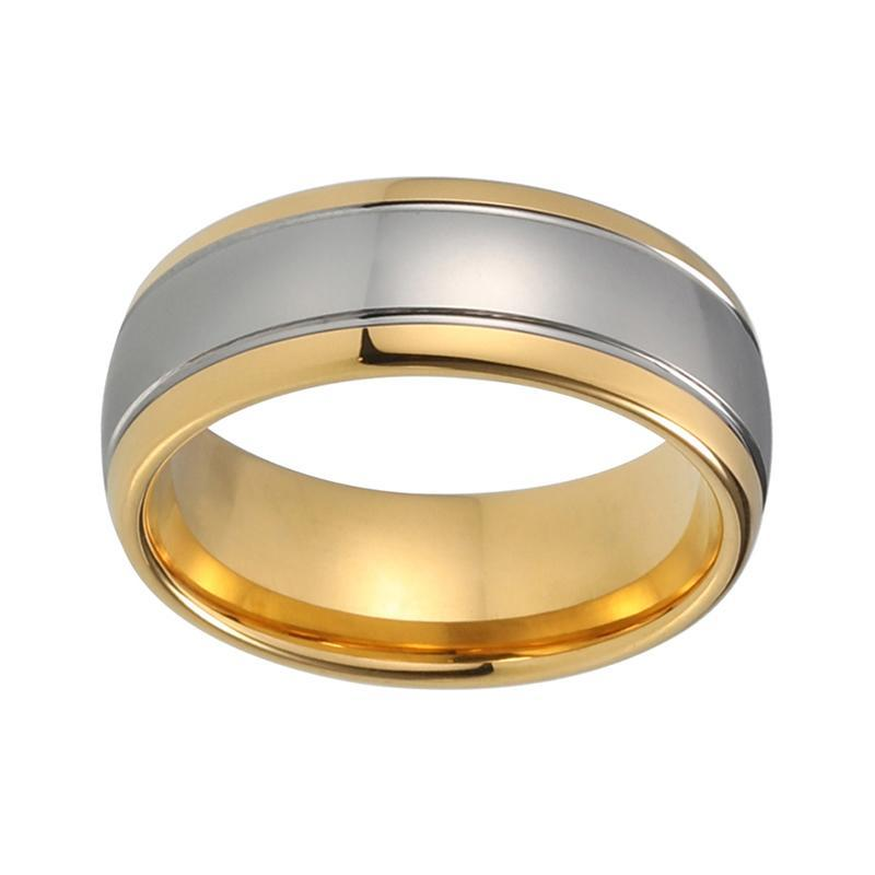 8mm Tungsten Carbide Silver Center and Gold Plated Band with Polished Inner Lining - Innovato Store