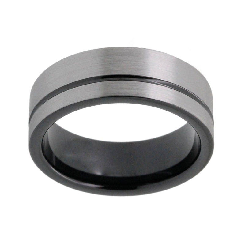 Black Plated Tungsten Ring with Flat Grooved Finish