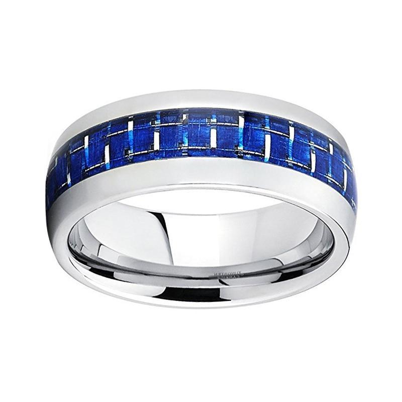 8mm Blue Gel Basket Weave Inlay with Silver-Tungsten Carbide Ring - Innovato Store