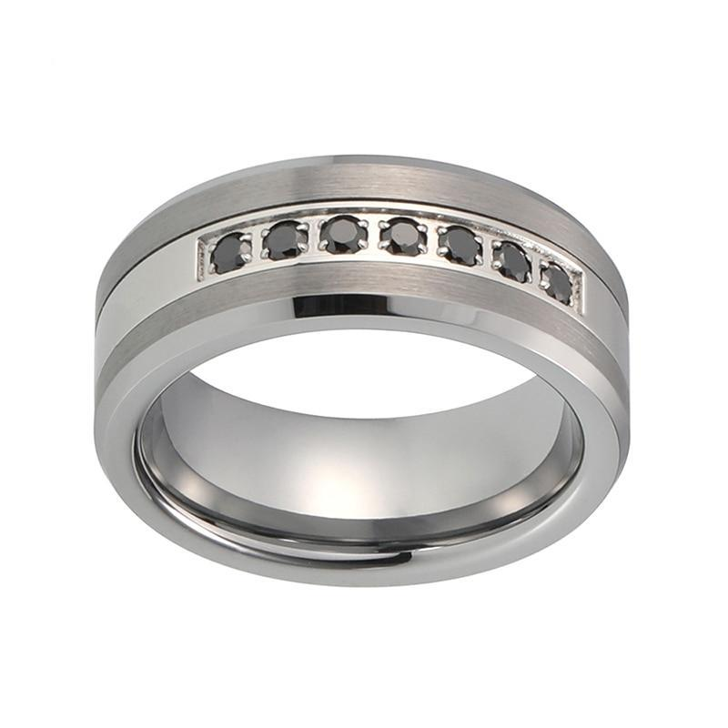 Silver Coated Tungsten Ring with Brushed Matte Surface and Gem Stone Center Insert