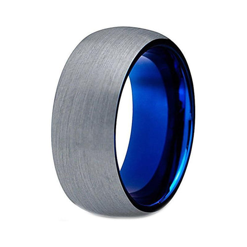 8mm Tungsten Steel Ring with Blue Inner and Brushed Finish - Innovato Store