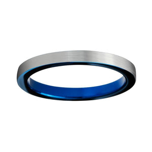 4mm Thin Silver Brushed Matte and Blue Coated Tungsten Ring - Innovato Store
