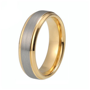 Gold Plated Tungsten Carbide with Silver Brushed Matte Center Wedding Ring - Innovato Store