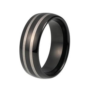 8mm Black Plated Tungsten Carbide with Laser Engraved Double Stripes Wedding Ring - Innovato Store