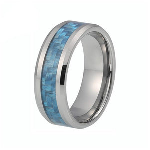 8mm Blue Water Color Carbon Fiber Inlay with Silver Polished Tungsten Carbide Metal