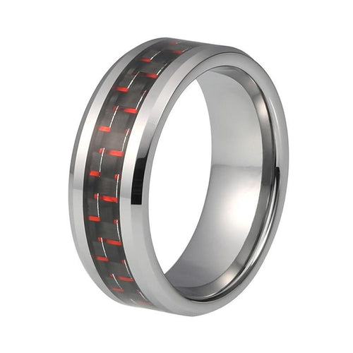 8mm Black Carbon Fiber with Red Dots Inlay and Silver Coated Tungsten Ring - Innovato Store