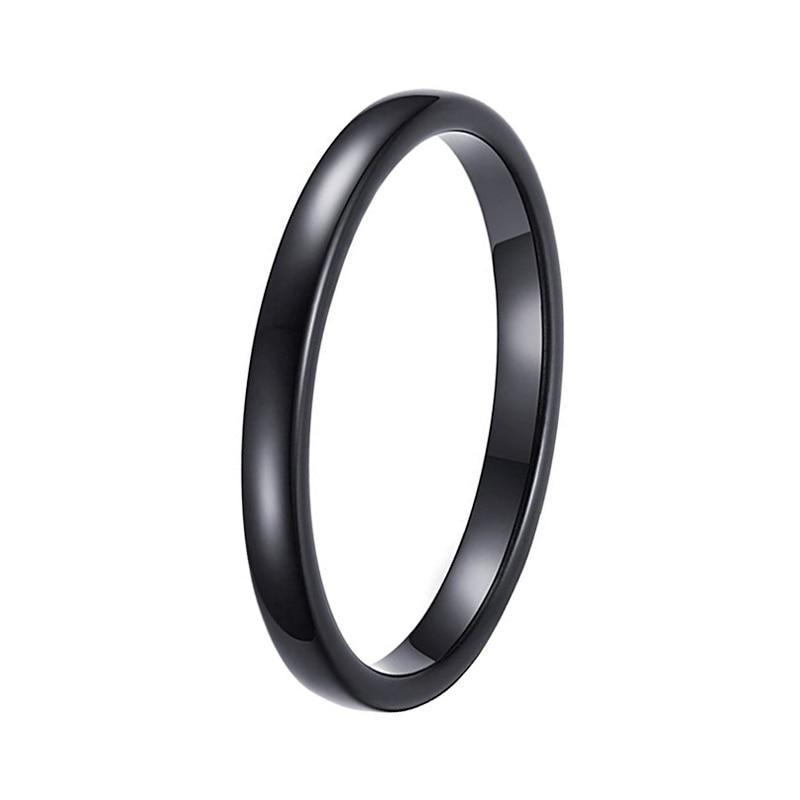 2mm Thin Black Polished Tungsten Beveled Ring - Innovato Store