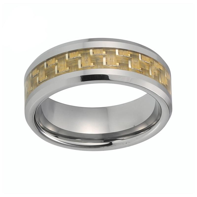 Yellow Carbon Fiber Inlay on Silver Coated Tungsten Carbide Ring