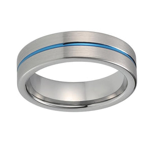 6mm Silver Brushed Matte Tungsten Carbide Ring with Blue Groove Wedding Band - Innovato Store