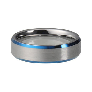 6mm Silver Tungsten Carbide Ring with Silver Brushed Matte Center and Blue Beveled Edges - Innovato Store