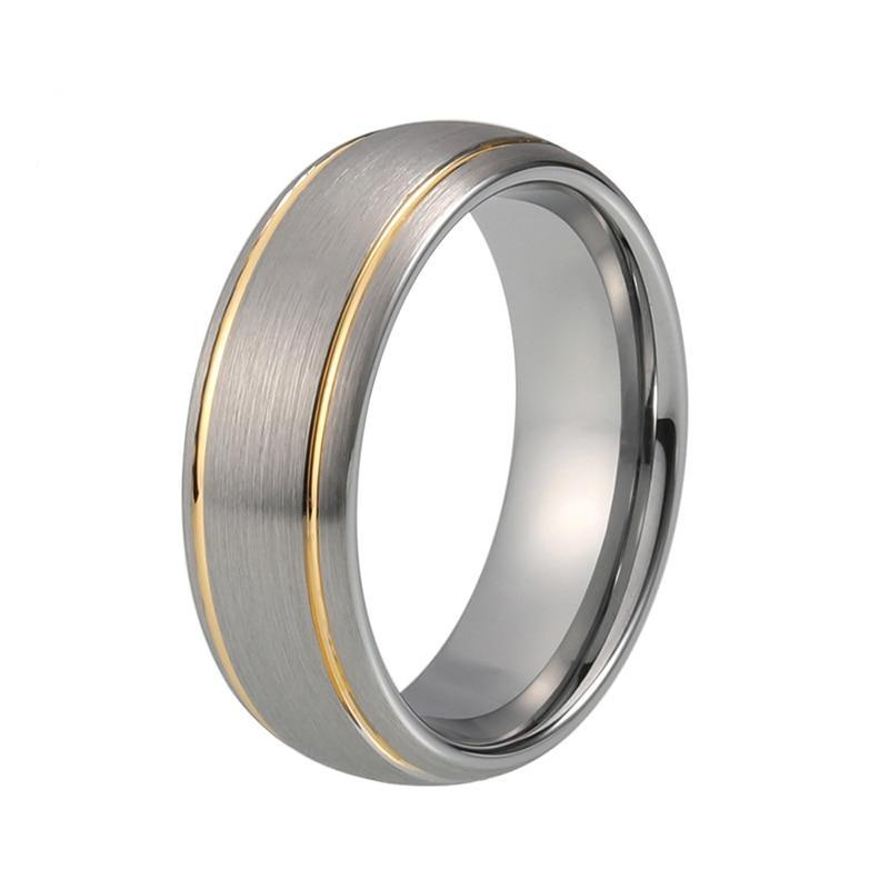 Double Gold Groove Dome Shape with Silver Brushed Matte Tungsten Carbide Wedding Ring - Innovato Store