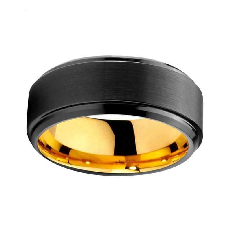 8mm Stepped Brushed Matte Black Tungsten Carbide with Black Edges and Yellow Gold Color Insert Ring - Innovato Store