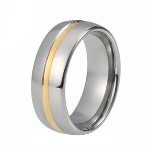 Beveled Edges Silver Plated with Gold Groove Tungsten Carbide Wedding Ring