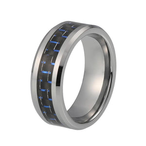8mm Black and Blue Carbon Fiber Inlay with Silver Coated Tungsten Carbide Ring - Innovato Store