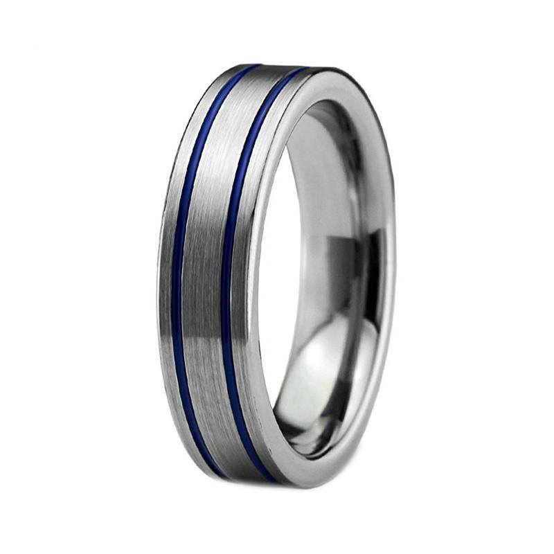 6mm Silver Coated Tungsten Metal with Double Blue Groove Wedding Ring - Innovato Store