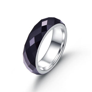 Dome Shape Diamond Pattern Black Surface Ring with Silver Coated Tungsten Metal Ring - Innovato Store