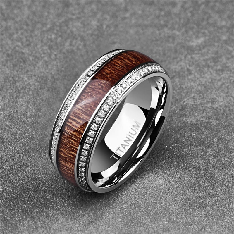 8mm Acacia Wood Inlay with CZ Stone Titanium Steel Ring - Innovato Store