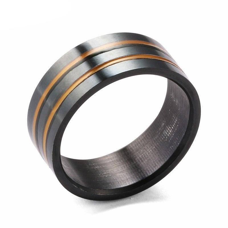 Black Tungsten Carbide Ring with Double Gold Filled Groove Wedding Band - Innovato Store