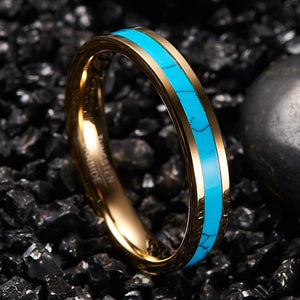 4mm Turquoise Inlay with Gold Coated Tungsten Carbide Edge Bands - Innovato Store