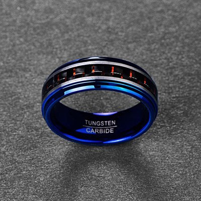 Translucent Blue with Red and Black Carbon Fiber Inlay and Silver Matte Edges Wedding Ring