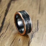 Black Tungsten Carbide with Black Cubic Zirconia Stones and Gold Plated Step Edges Wedding Rings - Innovato Store