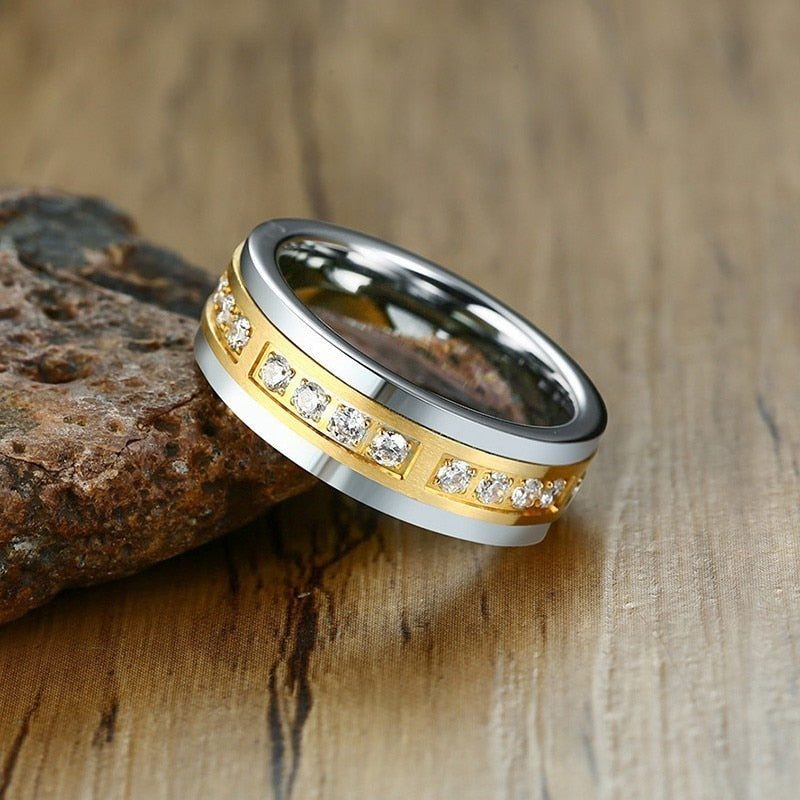 Silver Coated Tungsten Carbide with Gold Center and CZ insert Wedding Ring