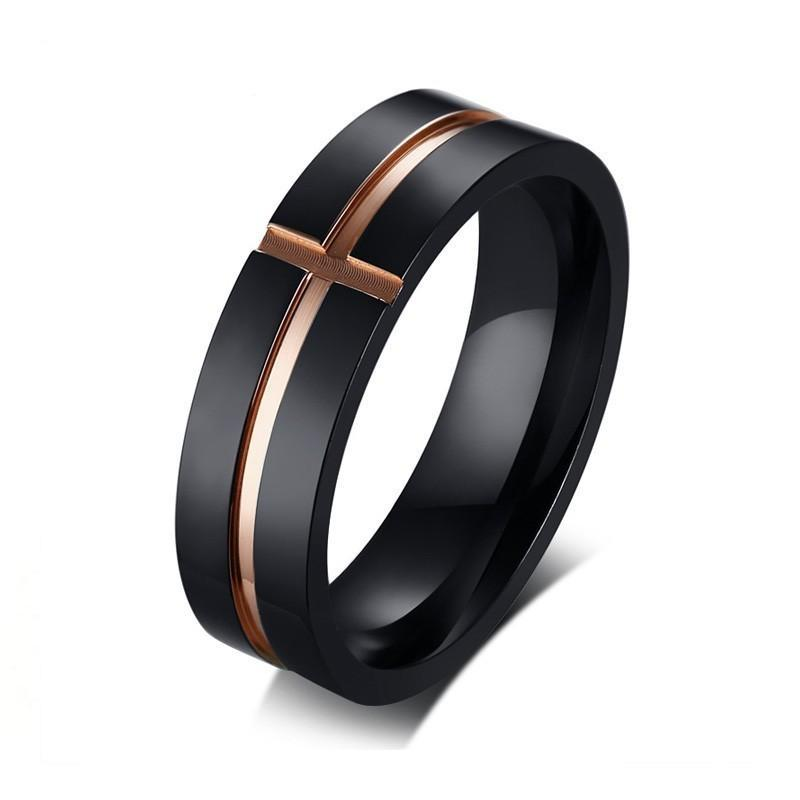 Black Stainless Steel Ring with Rose Grooves Wedding Rings - Innovato Store