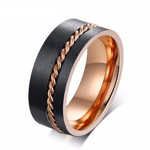 Black and Rose Stainless Steel Brushed Matte Surface with Twisted Rope Groove Inlay Wedding Ring - Innovato Store