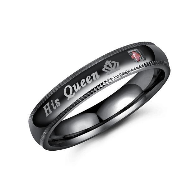 His Queen & Her King Black Stainless Steel Wedding Rings with Blue and Pink CZ Stones - Innovato Store