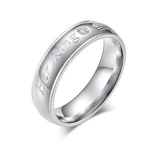 His Queen & Her King Matching Rings with Impressed Edges, inscriptions, and Cubic Zirconia Stones - Innovato Store