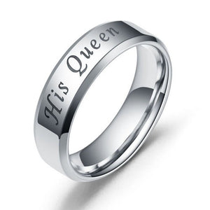 Black and Silver Stainless Steel Couple Ring with His Queen & King Engraved - Innovato Store