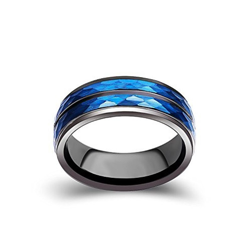 Black Toned 8mm Comfortable Tungsten Ring for Men with Blue Color Plated and Hammered Outside - Innovato Store