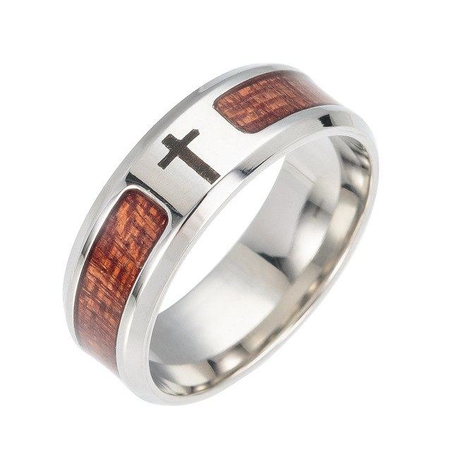 3 Styles Stainless Steel Silver Plated Wedding Ring with Koa Wood Inlay for Men - Innovato Store
