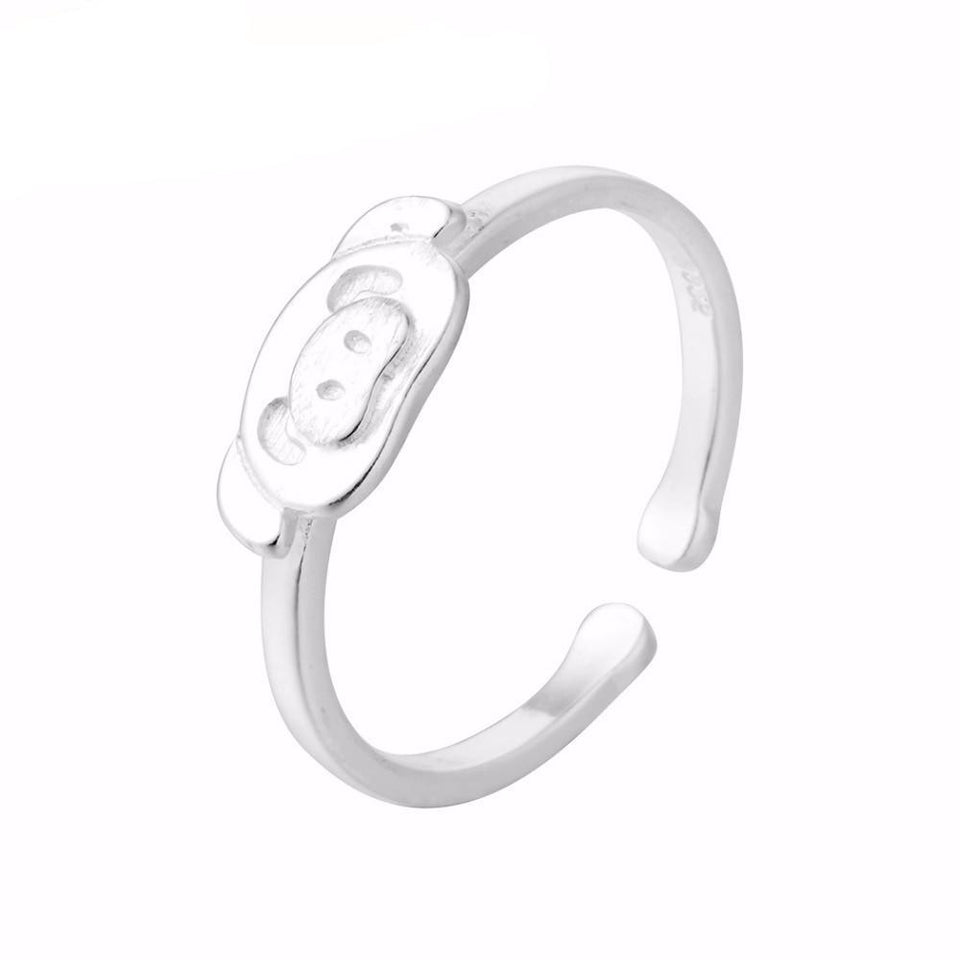 Silver Plated Adjustable and Comfortable Animal Ring for Teenage Girls with Piggy Figure