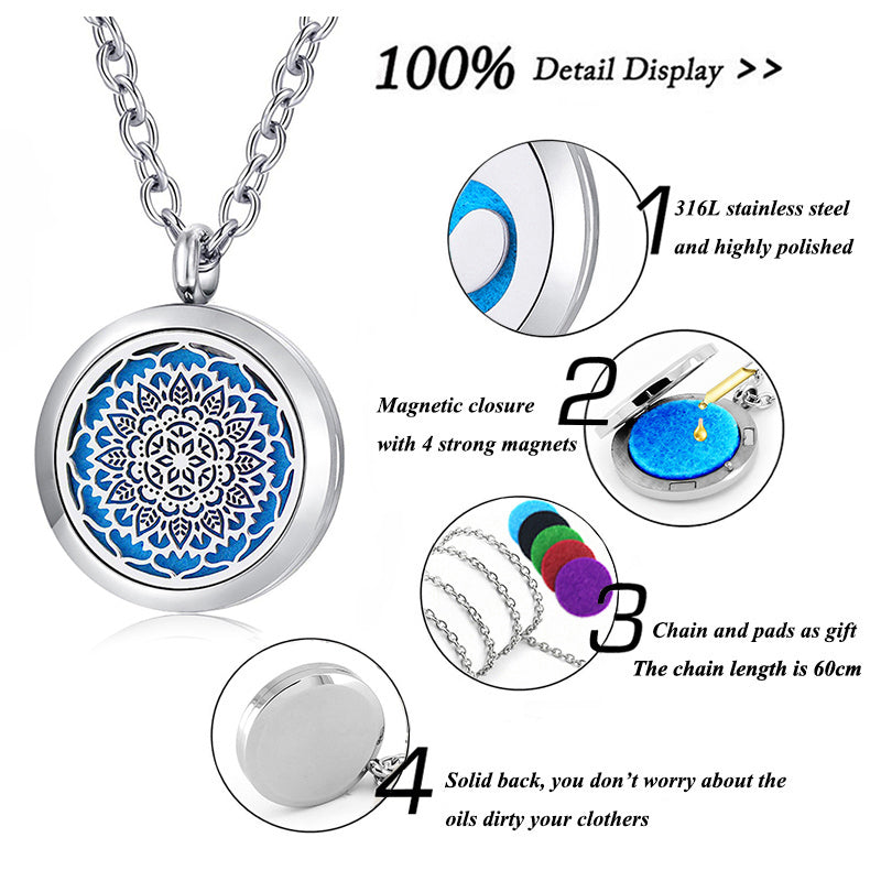 Round Aromatherapy Essential Oil Diffusing Necklace Locket