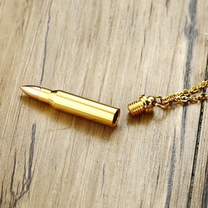 Stainless Steel Gold Bullet Pendant Memorial Necklace