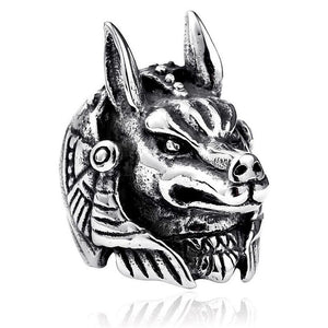 Stainless Steel Black Shade Egyptian Pharaoh Anubis Ring for Men