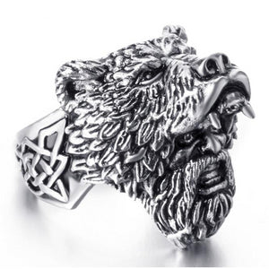 Viking Bear Warrior Titanium Black and Silver Ring