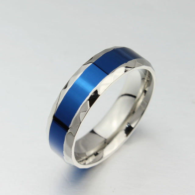 Couple Stainless Steel Ring with Blue Inlay for Wedding / Engagement Promise - Innovato Store