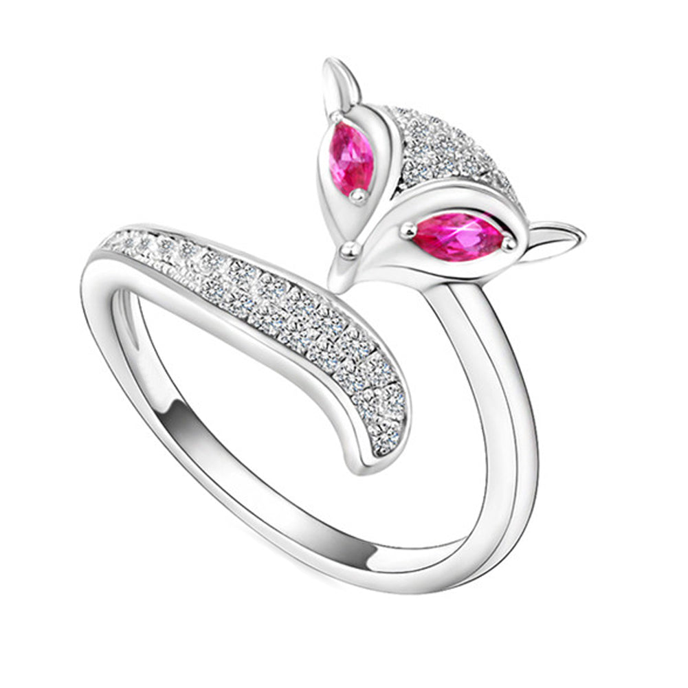 Adjustable Fox Ring with Two Pink Gems Silver Plated