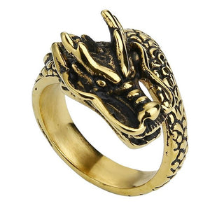 Gold and Black Toned Stainless Steel Gothic Eastern Fairy Dragon Unisex Wedding Band - Innovato Store