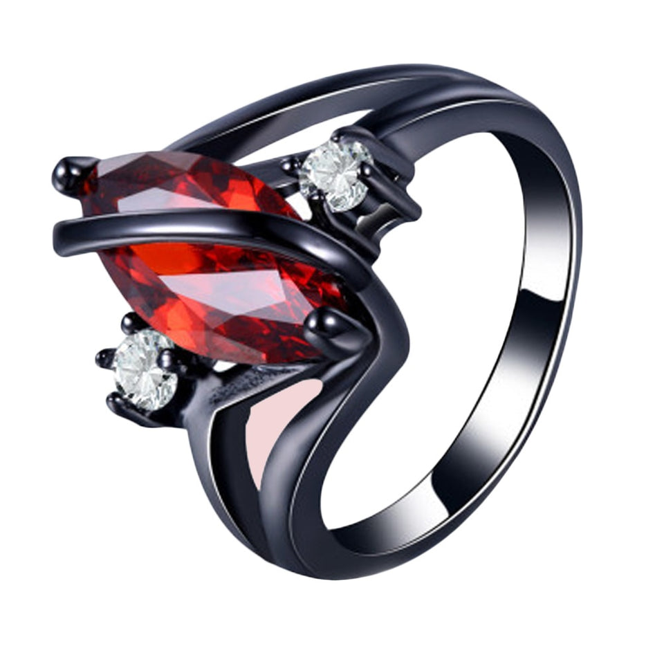 Black Toned Marquise Cut Crimson Red Stone Inset Women's Engagement Ring