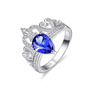 18K White Gold Plated Blue Cubic Zirconia Stone Center Inset with White Crystals Princess Wedding Ring