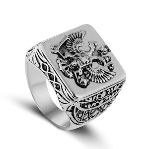 20mm Unisex Silver and Black Accented Copper Eagle with Coat of Arms Wedding Band - Innovato Store