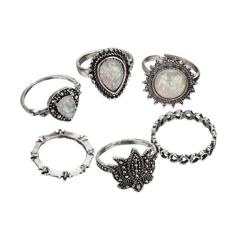 Bohemian Style Silver and Antique Toned Knuckle Finger Rings Set