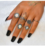 Bohemian Style Silver and Antique Toned Knuckle Finger Rings Set - Innovato Store