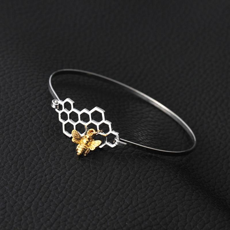 Stainless Steel Silver Honeycomb and Bee Charm Bracelet