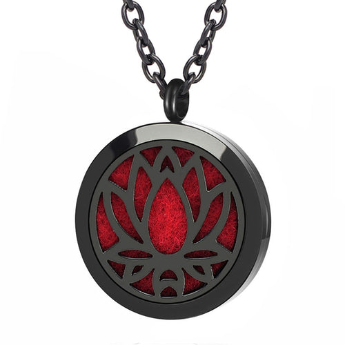 Black Aromatherapy Oil Diffuser Jewelry Locket Necklace