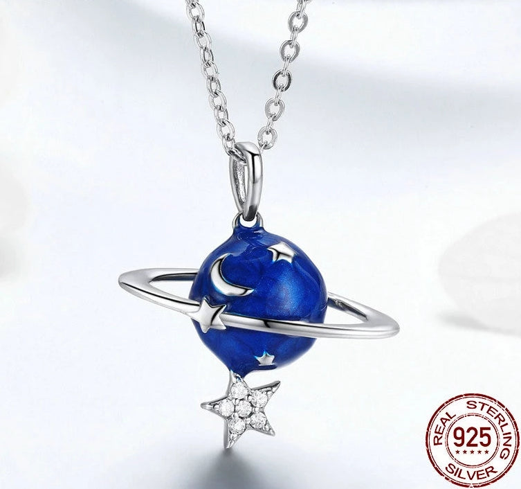 925 Sterling Silver Planet Moon and Stars Pendant Necklace