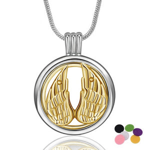 Golden Angel's Wings Aromatherapy Diffuser Locket Pendant Necklace